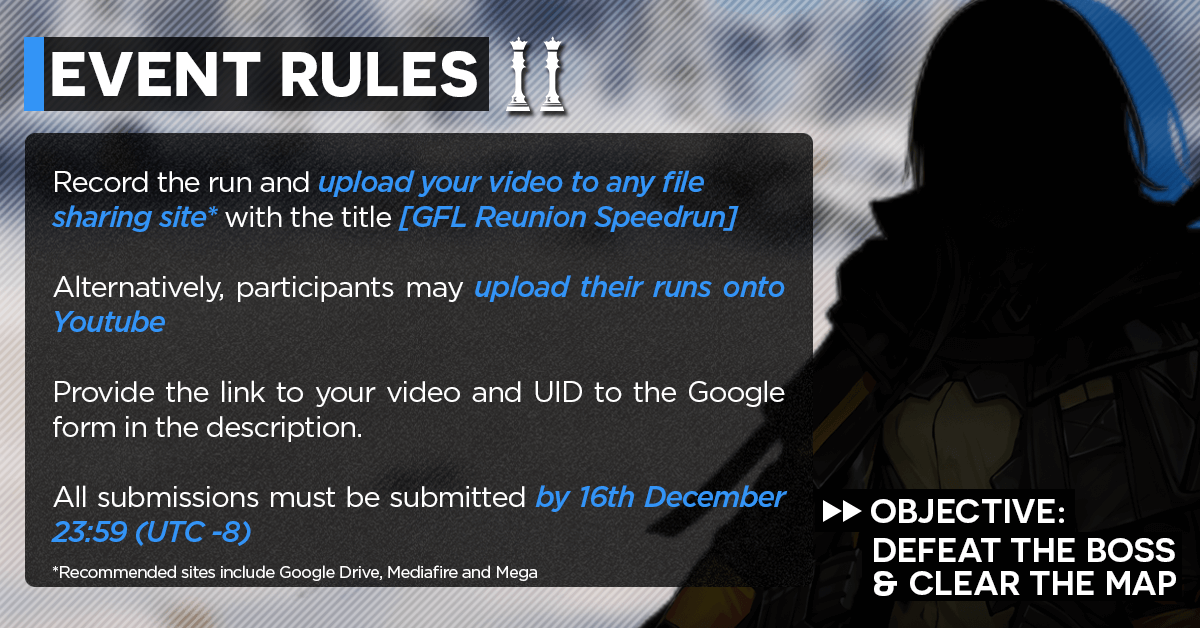 """Bitter Reunion"" GFL Community Speedrun Event Rules #2, covering submission process"