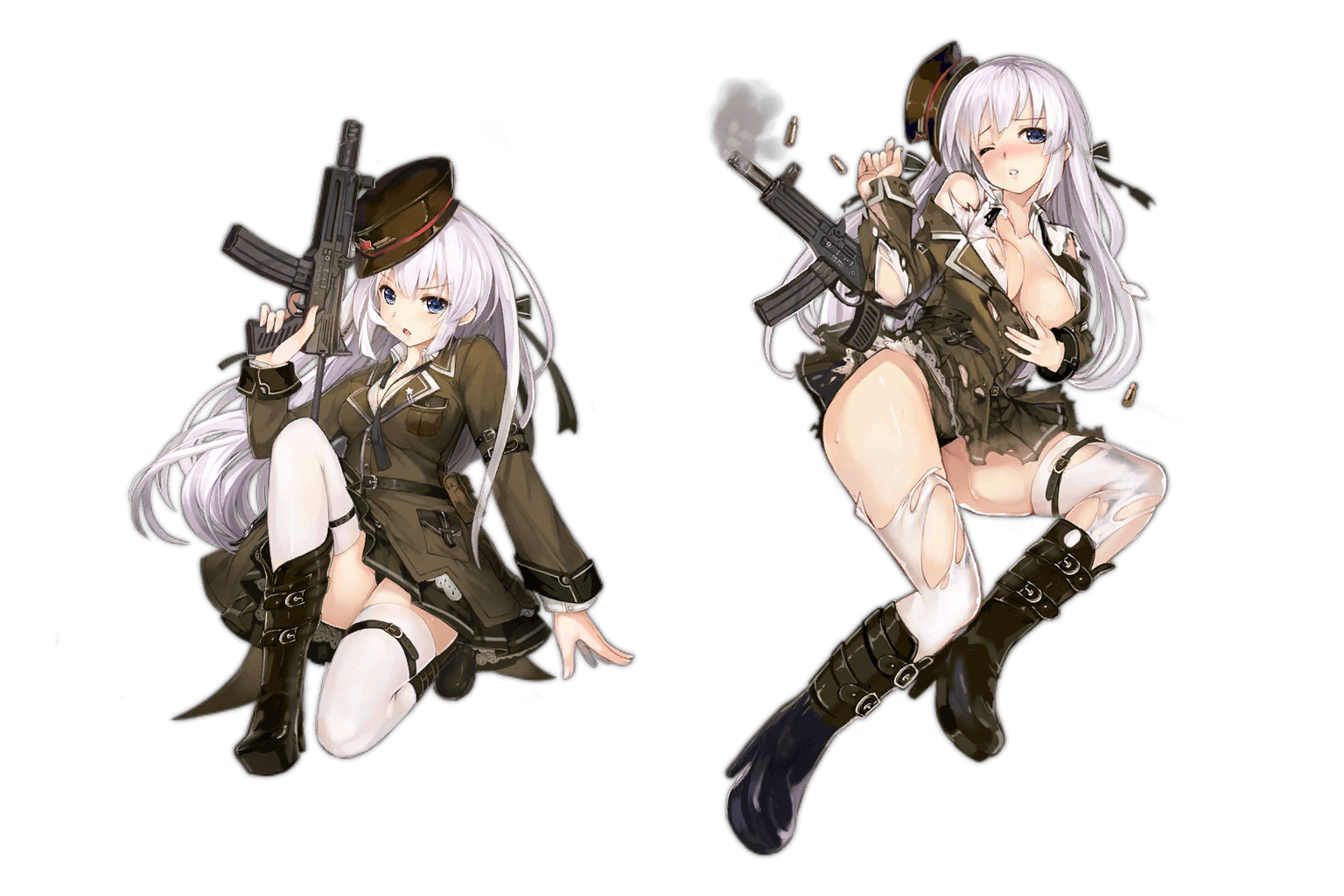 Standard and Damaged art for SMG OTs-39 in Girls' Frontline