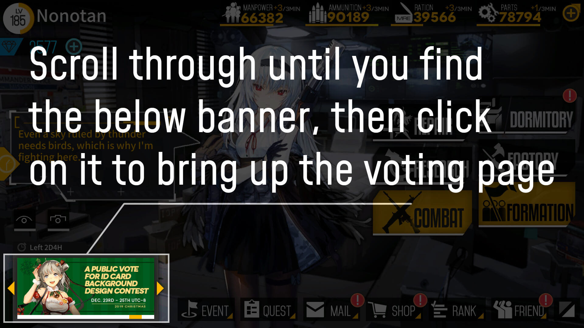 Screenshot showing where the in-game voting option is located.