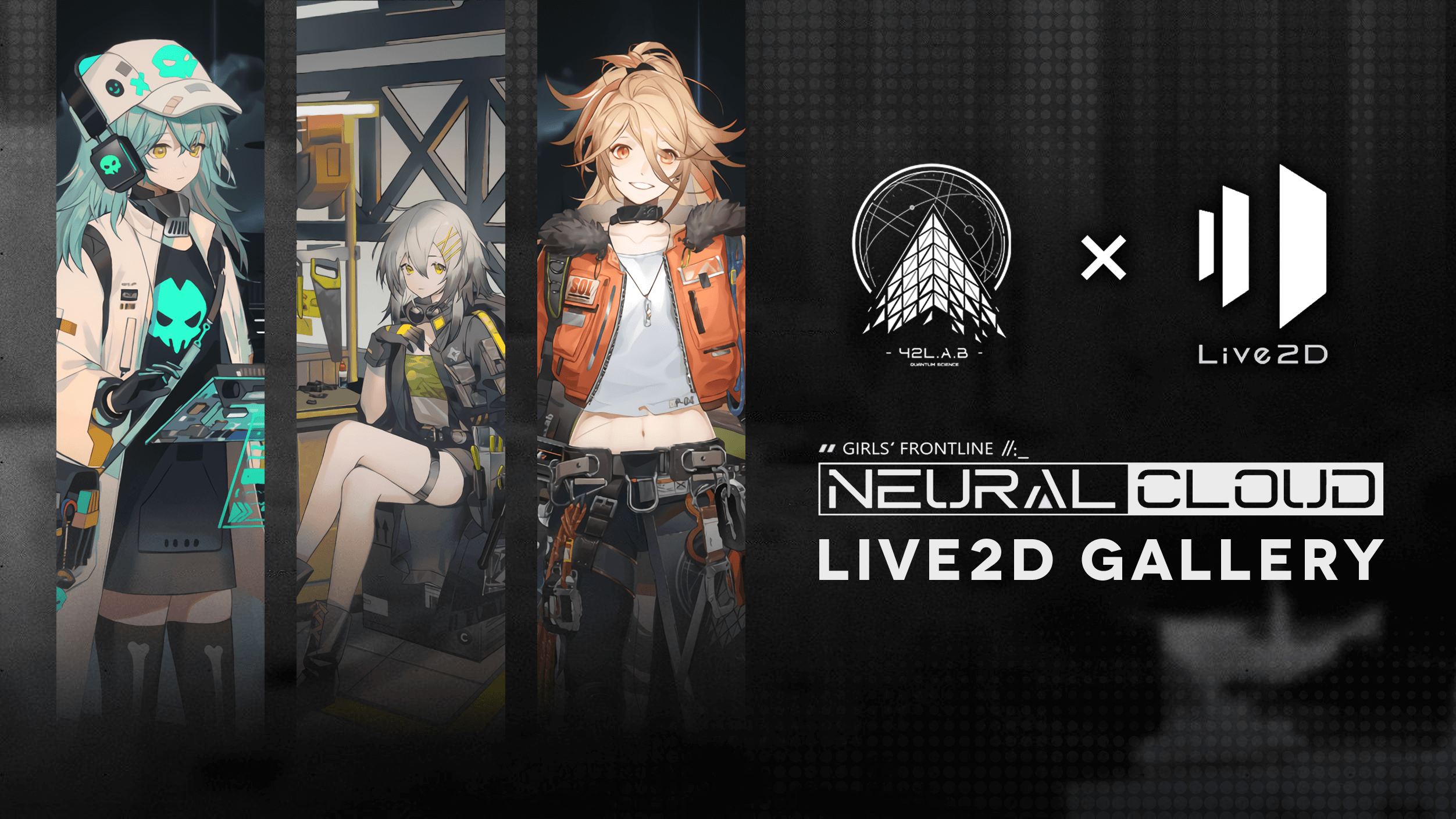 """Project Neural Cloud Live2D Gallery"" cover image featuring Sol, Antonina, and Croque"