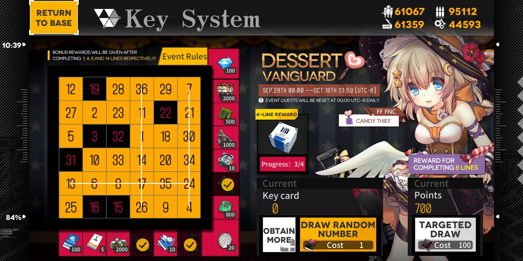Girls' Frontline FNC Bingo (Key Card) Board with 7 open slots and 700 points, allowing for full completion by using the targeted draws.