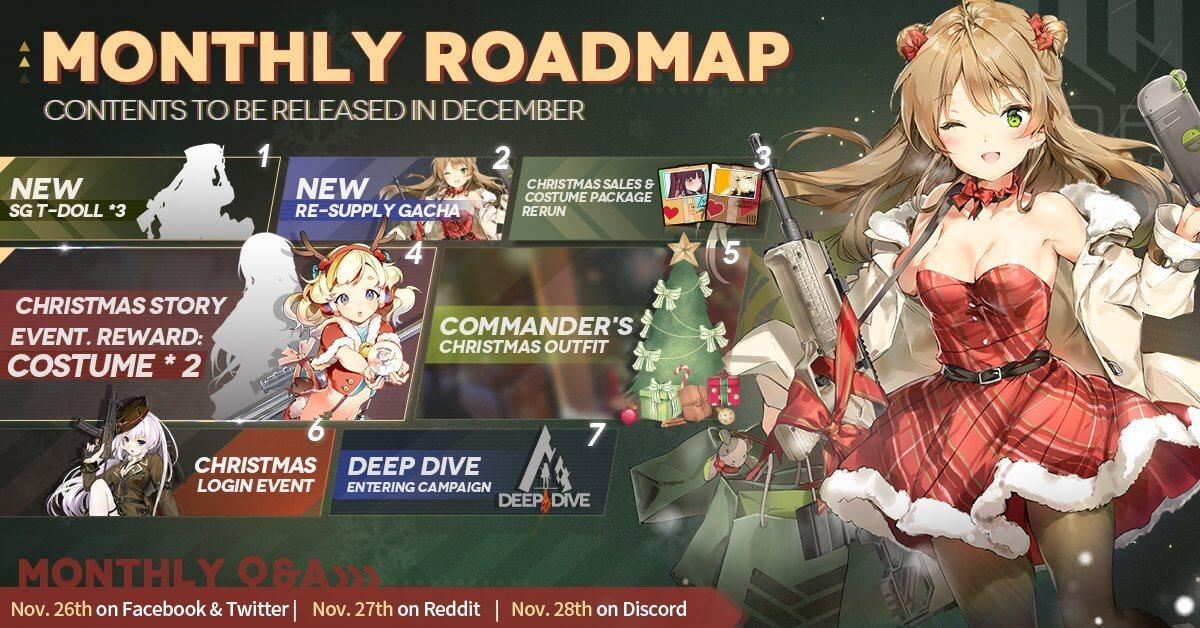 Official Girls' Frontline December Roadmap, featuring a new SG batch, Christmas Story & Login Event, and a new Re-Supply Gacha.