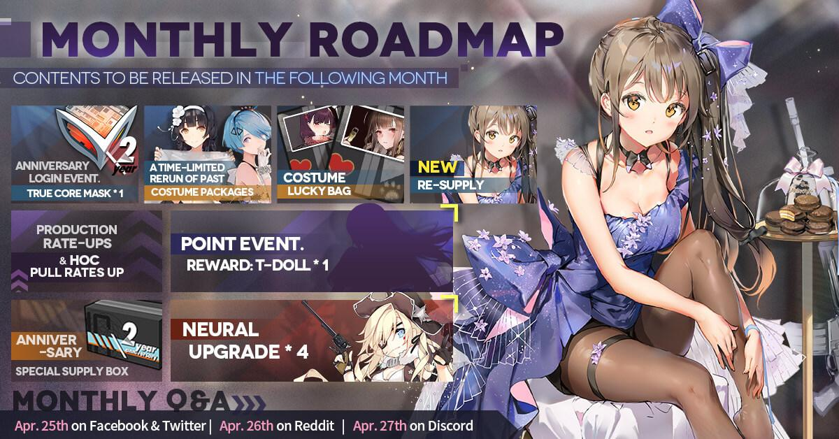Official Girls' Frontline May 2020 Monthly Roadmap, featuring K2's Live2D costume and a Costume Lucky Bag as well as the R93 Point Event on top of many Anniversary goodies.