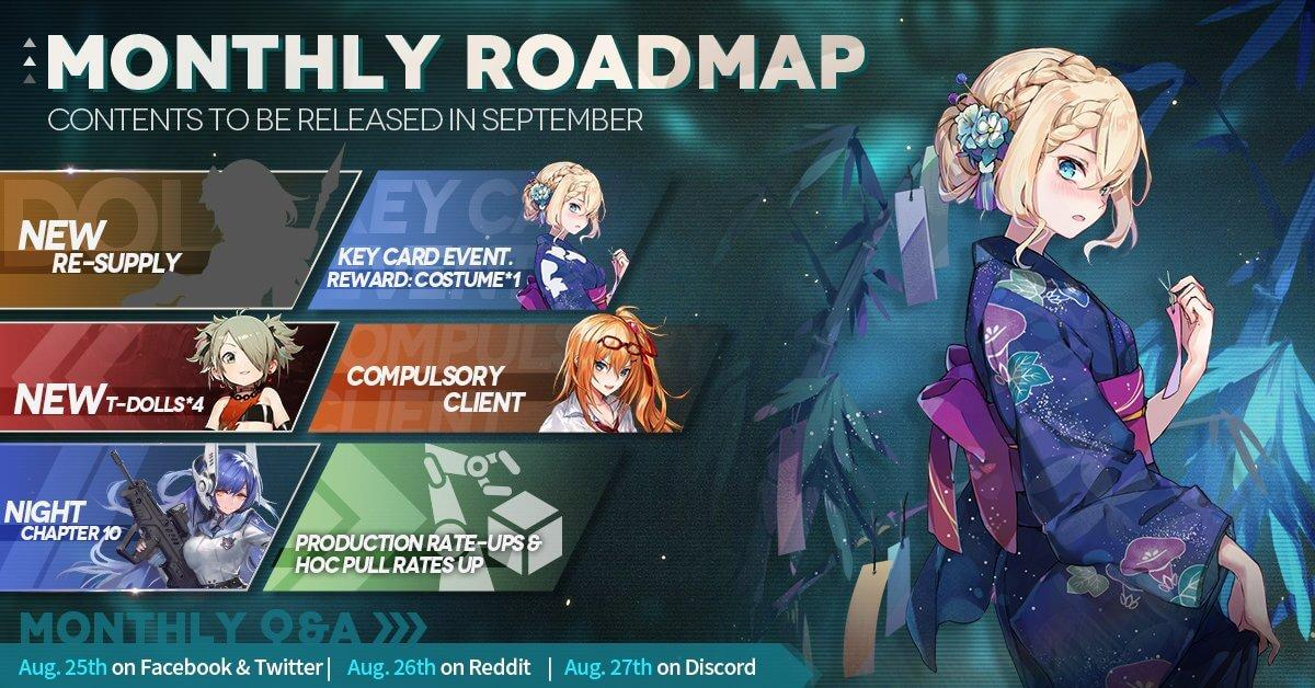 Official Girls' Frontline September 2020 Monthly Roadmap, featuring the newest CN-Resupply Gacha, a new T-Doll batch containing at least SIG-556, Night Chapter 10, an announcement of general rate-up, and much more!