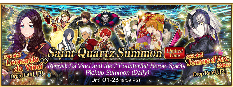Revival: Da Vinci and the 7 Counterfeit Heroic Spirits Pickup Summon (Daily)